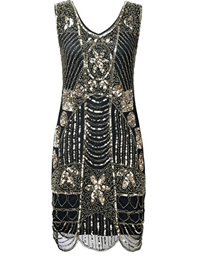 PrettyGuide Women's 1920s Gatsby Sequin Art Deco Plus Size Cocktail Flapper Dress XXL Gold