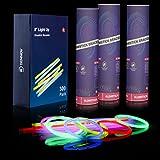"Dennov 8"" 300 Glow Sticks Lights Bracelets Necklaces & Connectors, Party Favors Supplies- Clearance"