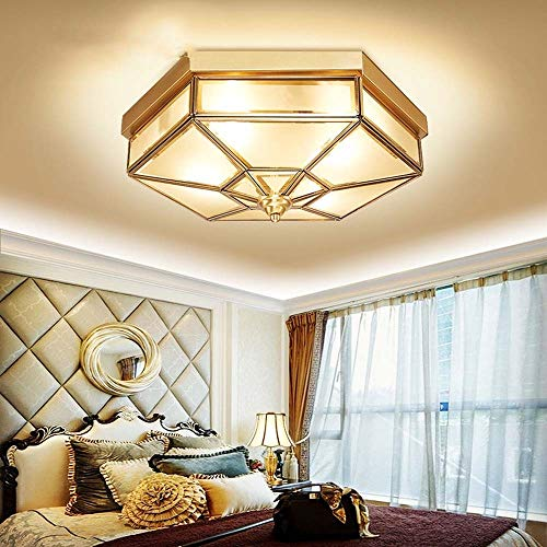 HYH LED European Copper Light Bread Ceiling Lamp 6-Sided Copper Small Bedroom Balcony Aisle Foyer Lighting Fashion Soldering Lamp Stair Light Lighting Lamps A Beautiful Life