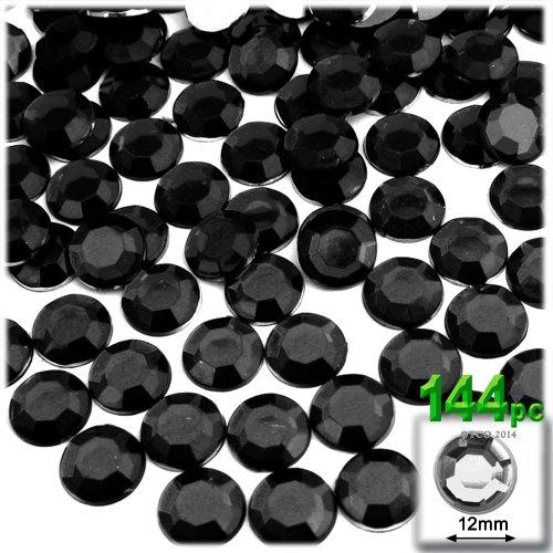 144pc flatback Acrylic Rhinestones Round 12mm - Jet Black