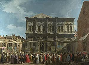 The polyster Canvas of oil painting 'Canaletto Venice The Feast Day of Saint Roch ' ,size: 8 x 11 inch / 20 x 28 cm ,this Amazing Art Decorative Canvas Prints is fit for Nursery decor and Home decoration and Gifts