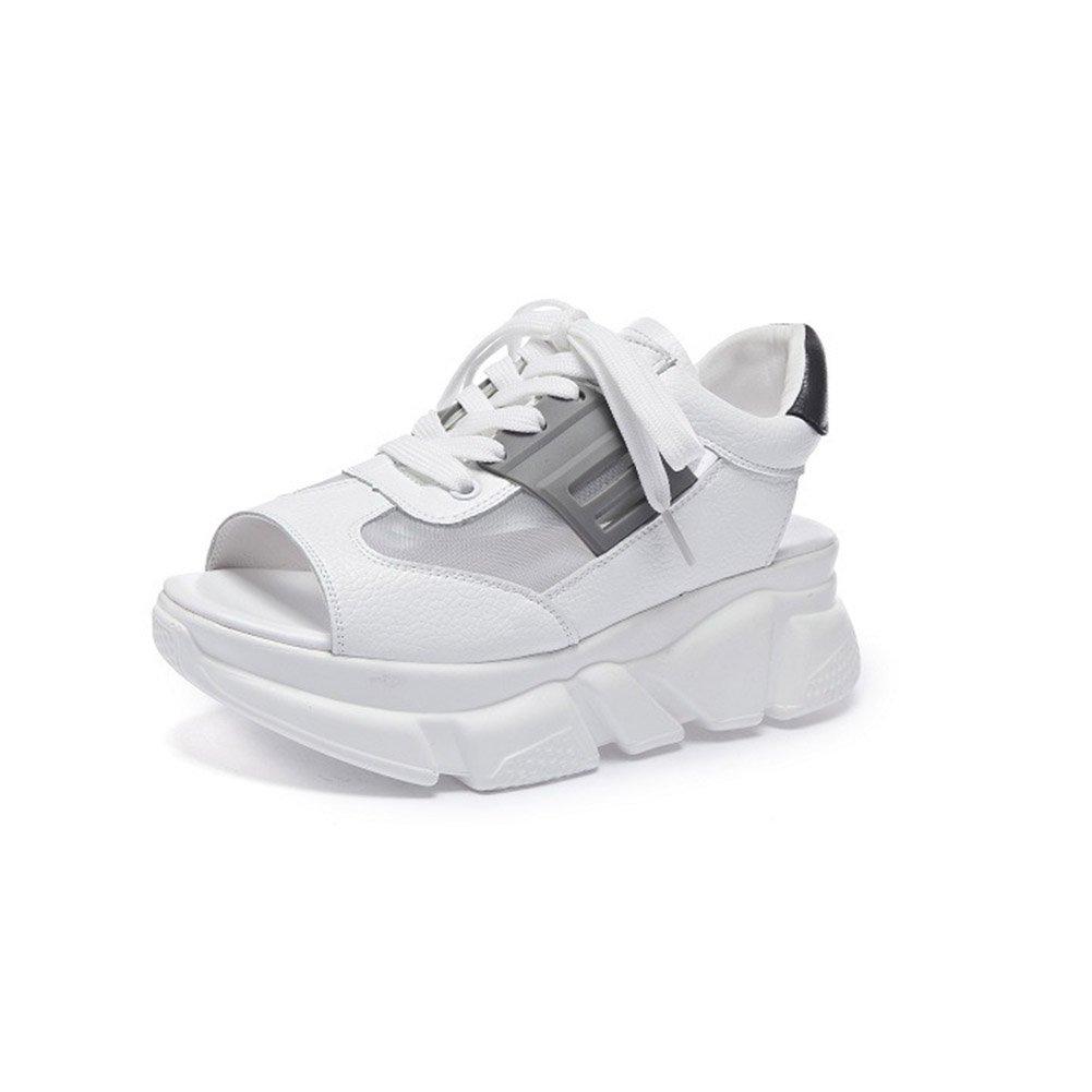 Frauen Schuhe Mikrofaser Sommer Komfort Sandalen Atmungsaktive Wanderschuhe Plattform Peep Toe Fuuml;r Casual Weiszlig;, Schwarz, Rosa  35 EU|Ein