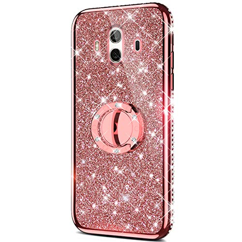 Price comparison product image Case for Huawei Mate 10 Glitter Case, Sparkly Glitter Bling Diamond Rhinestone Bumper with Ring Kickstand Flexible Soft Rubber TPU Protective Case Cover for Huawei Mate 10 Case Girl Women, Rose Gold