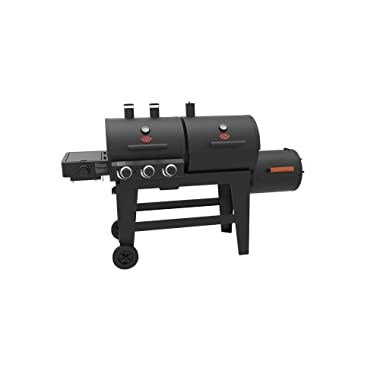 Char-Griller 93560 Triple Play 3-Burner Gas, Charcoal Grill and Horizontal Smoker in Black