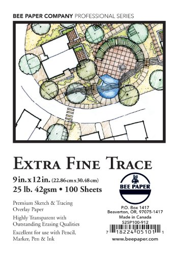 Bee Paper Extra Fine Tracing Pack, 9-Inch by 12-Inch, 100 Sheets per pack by Bee Paper Company