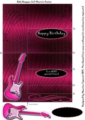 Color de rosa caliente de la guitarra eléctrica de lado paso a ...