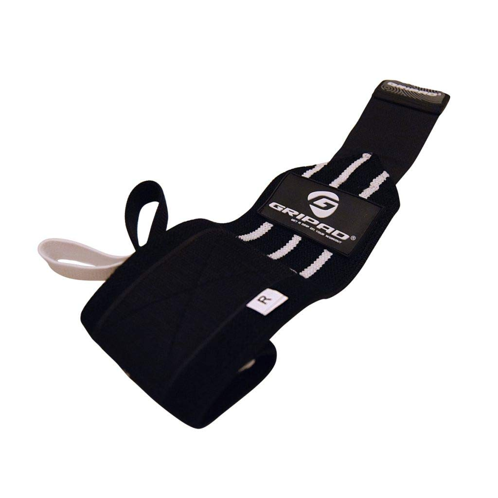Black White Gripad 12  x 3  Weight Lifting Support Wrist Wraps, Strong Wrist Wraps, 2 Thumb Loops  Great for Weightlifting, Powerlifting, Bodybuilding, Strength & CrossTraining.