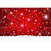 Yelewen 7x5ft Red Christmas Glitters Snowflakes Thin Vinyl Customized Digital Printed Photography Backdrop Prop Photo Background