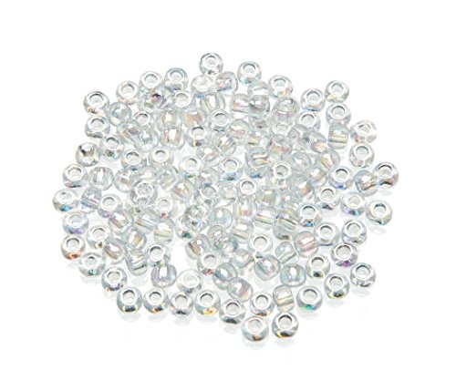 Darice Toho Japanese Glass Seed Beads, Transparent Rainbow Clear