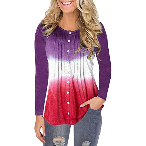 Kauneus  Women's Plus Size Long Sleeve Crew Neck Pleated Button-Down Shirts Casual Comfy Cotton Blouse Tops Gradient Purple (Best Fly Fishing Boots 2019)