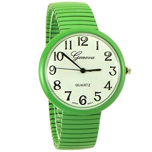 Geneva medium case watch dress style stretch band for women green - 8