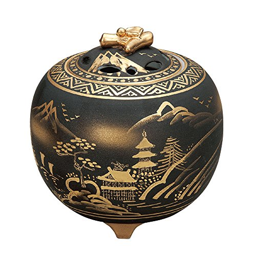 Japanese Kutani Yaki Porcelain Incense Burners Sansui by Kutani