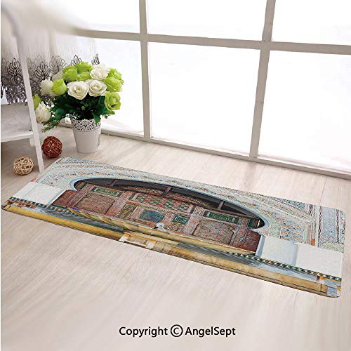 Custom Anti Slip Long Rectangle Mat,Golden Historical Fountain Photo in Morocco Africa Antique Mousque Palace HeritageMulticolor,Fashion Long Carpet Choose Your Width by Length