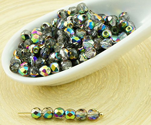 100pcs Crystal Metallic Vitrail Green Pink Half Round Faceted Fire Polished Czech Glass Beads Small Spacer 3mm