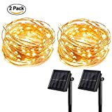 T HomeLight 2 Pack Solar Power String Light 33FT 100Leds Warm White ON/OFF Flash 2 Mode Copper Decor Led Light, Patio, Yard, Travel, Motor Home DIY Picture Wall