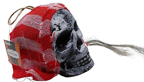 Pirate Skull Head Hanging With Hair & Head Scarf (Life Size, Foam Skull, Assorted Style) | Outdoor Halloween Decoration, Pirate King Head Prop, Horror Hanging for Trick, Haunted House (Sale Halloween Decorations Uk)