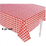 (6) Plastic Red and White Checkered Tablecloths - 6 Pc - Picnic Table Covers