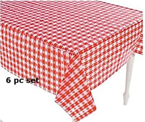 6 plastic red and white checkered tablecloths 6 pc picnic table covers