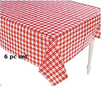 Attractive (6) Plastic Red And White Checkered Tablecloths   6 Pc   Picnic Table Covers