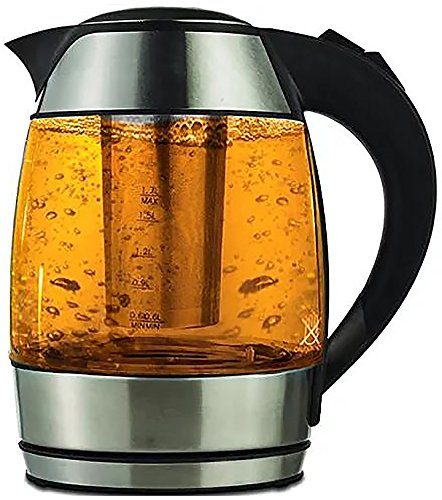 LavoHome 1.8-Liter Electric Cordless Tempered Glass Tea Kettle with Infuser by LavoHome