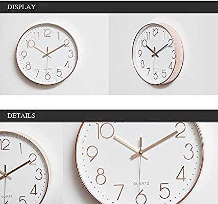 2-Pack Wall Clocks 12 inch Silent Non-Ticking Operated Analog Clock.PA