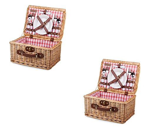 Catalina Picnic Basket - Picnic Time Catalina Basket - Red and White Plaid, Set of 2