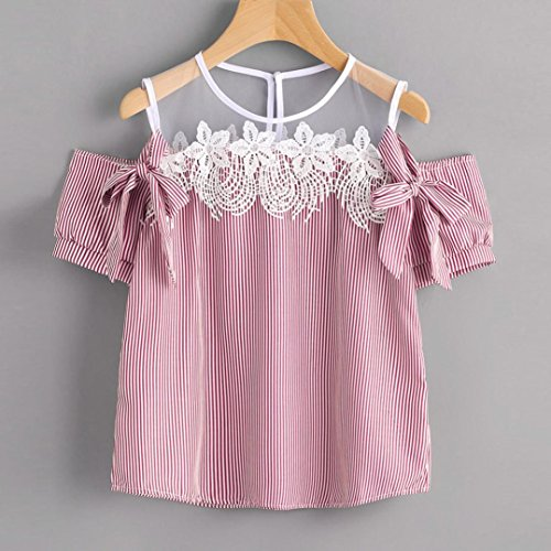 Amazon.com: DondPO Women Short Sleeve Off Shoulder Lace Floral Striped Blouse Casual Tops T-Shirt: Clothing