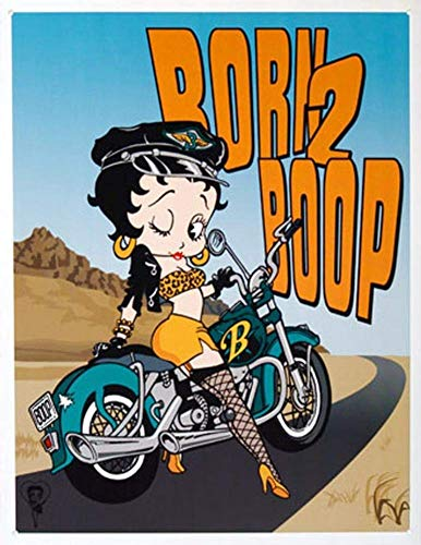Tin Sign 8X12 inches Betty Boop Born 2 Boop Motorcycle Retro Vintage Tin Sign