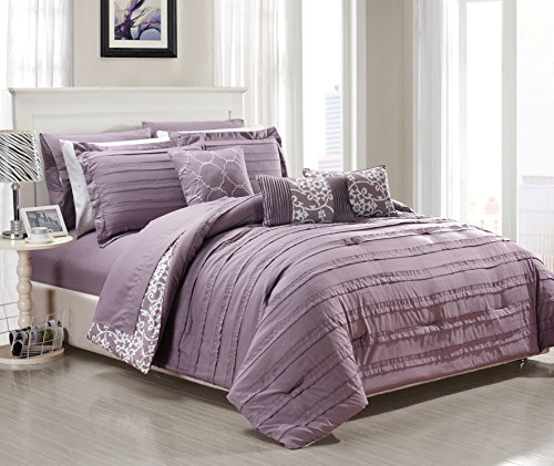 Chic Home 10 Piece Lea Complete Pleated ruffles and Reversible Printed Bed In a Bag Comforter Set of Sheets, Queen, (10 Piece Bedding Ensemble)