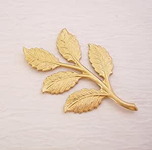 BeadsTreasure Raw Brass Stamping Embellishment Leaf Branch Pendant Connector Jewelry Findings