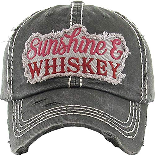 H-212-WHISKEY06 Distressed Vintage Patch Hat: Sunshine & Whiskey, Black