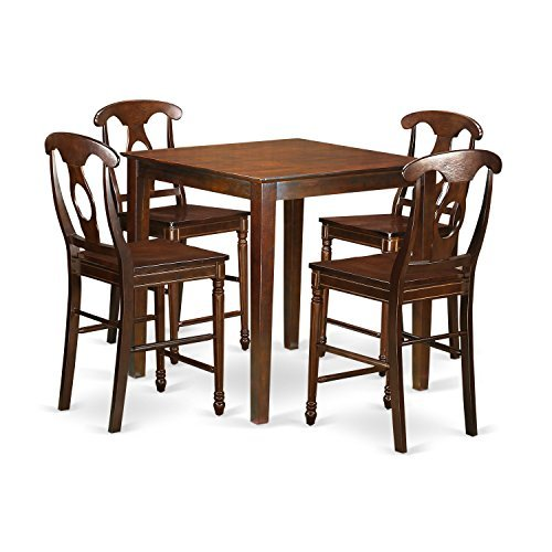 - East West Furniture VNKE5-MAH-W 5 Piece Counter Height High Table and 4 Chairs Set