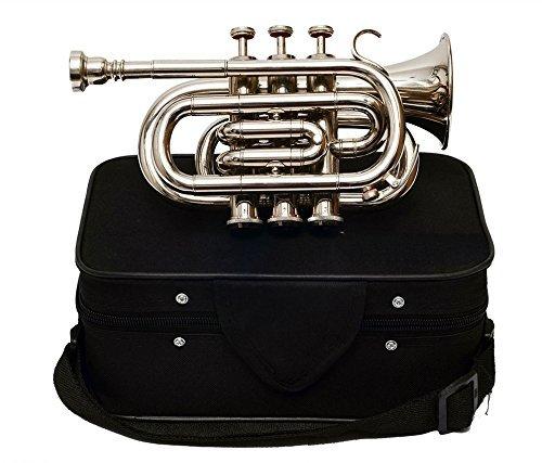 Queen Brass Pocket Trumpet Chrome Finish B-Flat W/Case+Mp Silver by Queen Brass