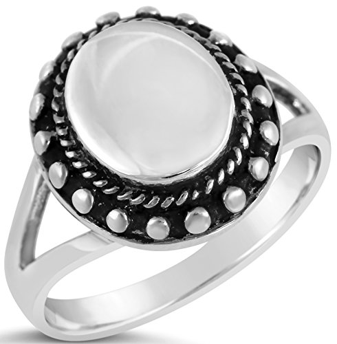 (Beaded Collection Womens Sterling Silver Oval Engraveable Beaded Edge Ring Size 5)