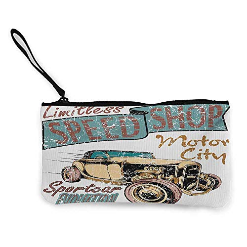 - Cash Bag 1950s Cars,Limitless Speed Shop Advert with a Vintage Sports City Evolution Print,Blue Grey Sand Brown Ruby W8.5
