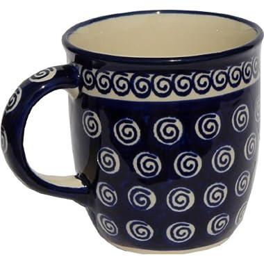 Polish Pottery Mug 12 Oz. From Zaklady Ceramiczne Boleslawiec 1105-174a Classic Pattern, Capacity: 12 Oz.
