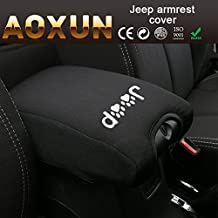 Aoxun Center Console Armrest Pad Cover With Jeep Dog Paws Logo for Jeep Wrangler JK Sahara Sport Rubicon X & Unlimited 2011-2016