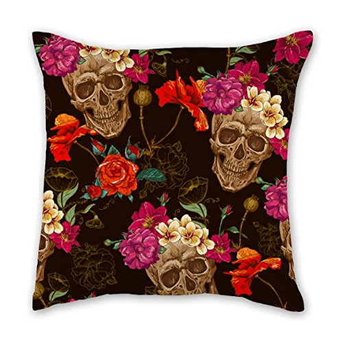 Pillow Cases Cushion Cover for Home Sofa Bedding Fashion Zippered Pillow Covers Pillowcases 18X18 Inch Two Sides Print Pillow Decorative Throw Pillow Cover (Skull and Flowers)