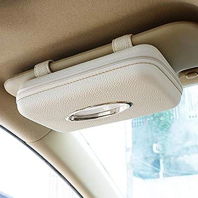 Cartisen Car Tissue Holder, Sun Visor Tissue Holder, Zipper Car Visor Napkin Holder, PU Leather Backseat Tissue Case for Car,Vehicle (Beige): Automotive