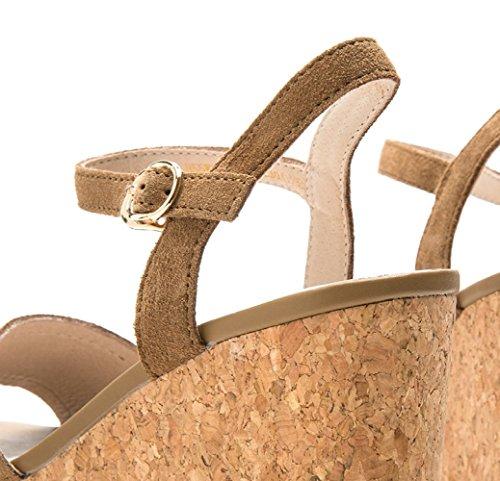con da alti Sandali piatti Pantofole basso DHG Tacchi basso moda 36 Sandali Albicocca casual donna Sandali a alla tacco estivi tacco UwttdP