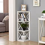 White Finish 3-tier Corner Bookshelf with X-Design