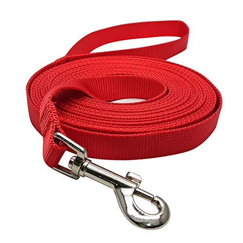 (Hulless 20 Feet Dog Leash,Nylon Training Leash,Dog Traction Rope,Red Dog leashes for Small Dogs,Great for Dog Training,Play,Camping or Backyard.)
