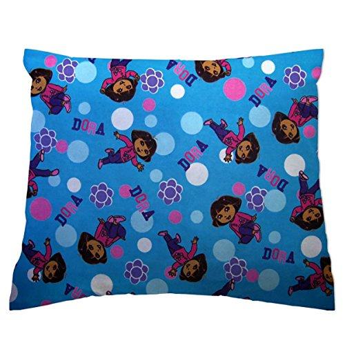 SheetWorld Crib / Toddler Baby Pillow Case - Flannel Pillow Case - Dora Blue - Made In USA