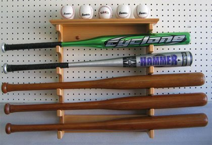 5 Baseball Bat Hanger Display Rack Holder, Solid Wood, Good Alternative to Display Case, (Oak Finish) by DisplayGifts