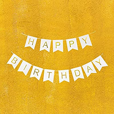Happy Birthday Banner, Birthday Decorations Versatile, Beautiful, Swallowtail Bunting Flag Garland, Chic White and Gold: Health & Personal Care
