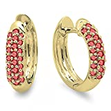 0.30 Carat (ctw) 14K Yellow Gold Round Ruby Ladies Pave Set Huggies Hoop Earrings 1/3 CT