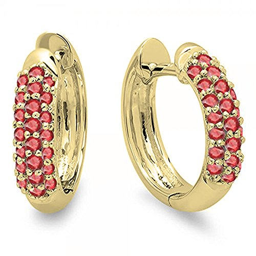 Dazzlingrock Collection 0.30 Carat (ctw) 14K Round Ruby Ladies Pave Set Huggies Hoop Earrings 1/3 CT, Yellow Gold ()