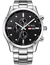 BUREI Mens Stainless Steel Multifunction Chronograph Wrist Watches Analog Sapphire Crystal Black Dial and Link...
