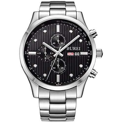BUREI Men's Stainless Steel Multifunction Chronograph Wrist Watches Analog Sapphire Crystal Black Dial and Link Bracelet (Crystal Sapphire Watch)