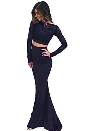 943a6b7a23a68d Sweet Bridal Women's Mermaid Party Dress Backless Long Sleeve Two Piece  Prom Dresses Black US2